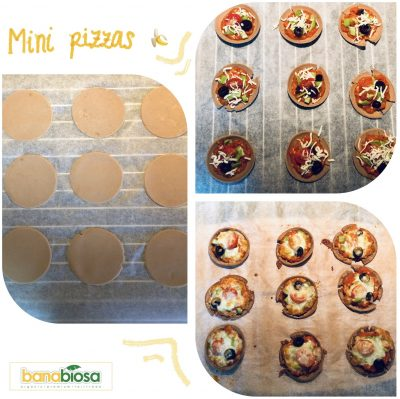 Mini pizzas with banana flour dough