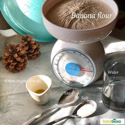 Pizza dough ingredients with banana flour